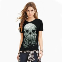 Women 3D T-Shirt 2017 girl fashion long feet of skulls printing new sexy slim breathable T-shirt .