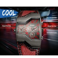 Oulm Brand Quartz-Watch Male Square Dial Military Wristwatches Multiple 2 Time Zone Mens Designer Watches Luxury Watch