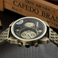 Oulm Gold Quartz Watch Military Full Steel Watches Large Big Golden Mens Watches Top Brand Luxury Wristwatch relojes hombre