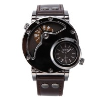 OULM Brand Luxury Brand Watches Men Army Military Dual Time Movement Mens Leather Starp Quartz Wrist Watch relogio masculino