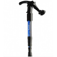Aviation Aluminum Alloy four shock T handle handle crutch stick hiking cane alpenstock outdoor (LED lamp)