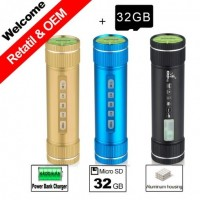32GB TF Card/Pindo X5 4400mAh Power bank charger/portable Bicycle Sport Speaker Play Micro SD Aux FM Radio Sound Speakers