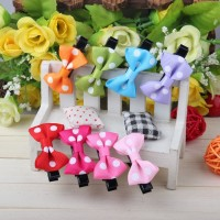 10Pcs Cute Baby Girl Polka Dot Bow Hair Clip Barrette Hair Accessories Free Shipping