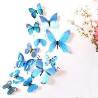 12Pcs/Lot 3D DIY Butterfly PVC Wall Stickers Multicolor Wall Decals