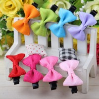 10pcs Lovely Baby Girl Bow Hair Clip Pin Pure Color Hair Bow Barrette Free Shipping