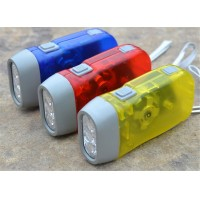 Fashion Portable Three Light Hand Pressure Flashlight Manual Self-generating Lamp