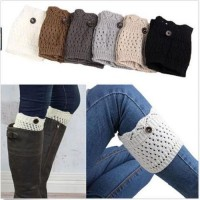 New Women Ladies Hollow Crochet Knitted Button Cover Boot Socks Winter Leg Warmers