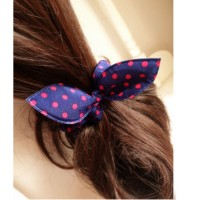 5pcs Women Girls Elastic Bow Hairband Polka Dot Stripe Mix Styles Rabbit Ears Hair Rope