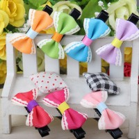 10pcs Lovely Baby Girl Bow Hair Clips Pin Multicolor Hair Bow Barrette Free Shipping