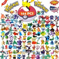 144 Pcs/lot Japanese Pokemon Figures Poke mon Pikachu Charizard Figurine Figuras Doll lot for Kids Party Supply Decor