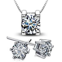Woman's Pendant Necklace and Earrings Jewellery Sets, Sterling Silver Chains, White Cubic Zirconia