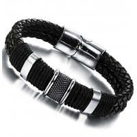 Men's Jewelry Gothic Leather Rope Braided 316L Stainless Steel Cuff Bracelet Bangle - Black
