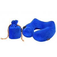 Umiwe Travel Neck Support Pillow Inflatable 3D Ergonomic Design Luxury Velvet Cushion Washable Cover with Carry Bag, Blue