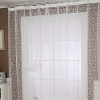 200 * 100cm Flocking Window Curtains Translucent Simple and Modern Transmission Curtain White
