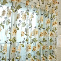 2 Color Hot Sale Luxury Rustic Purple Yellow Floral Tulle Sheer Curtains for Living room Bedroom Kithen