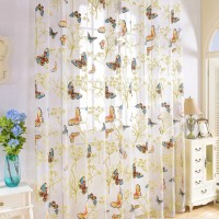 Butterfly Curtains Tulle Window Curtain for Living Room Bedroom Kitchen Curtains Printed Sheer Voile Curtains