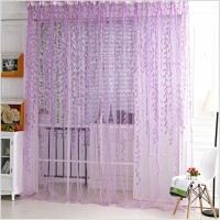 Sheers curtains Wholesale Willow leaf Tulles 3d Window Sheer Curtains for Living Room curtains for Bedroom Kitchen