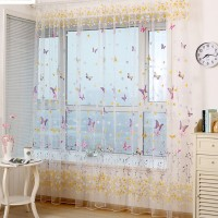 Window Curtain Purple Butterfly Burnout Tulle Voile Fabric Transparent Sheer Living Room Screening 1PCS