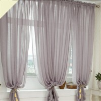 Linen Yarn Curtain Tulle Sheer Curtains Net Curtain Window Panel for Living room Gray