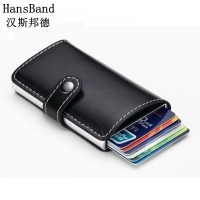2017 Antitheft men wallet PU leather mini RFID wallets automatic business card holder pop up case credit card protector Free Shipping