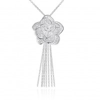Silver plated rose pendant romantic P318