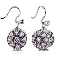 925 pure silver earrings flower shape pink with diamond ear hook E030