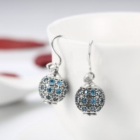 DIY 925 pure silver earrings ball shape blue diamond ear hook E014