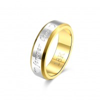 Gold plated Forever Love ring for male R095
