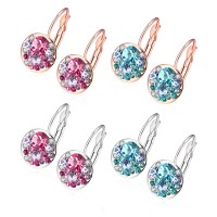 Fashion colorful earrings ear hook red blue rose gold / white gold plated E046
