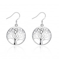 Fashion classic tree shape earrings silver plated ear hook E738