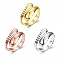Rose gold / gold / white gold plated K gold ring geometry shape adjustable ring R012