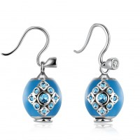 DIY 925 pure silver earrings diamond blue ear hook E024