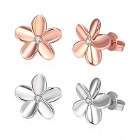 Flower earrings ear hook rose gold / white gold plated E027