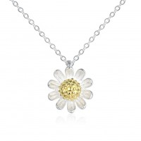 925 sterling silver daisy necklace N072