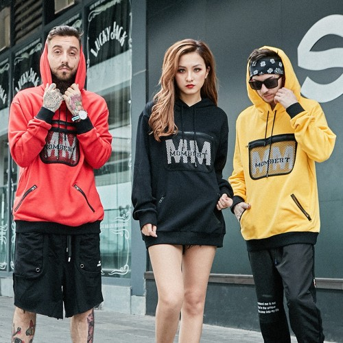 Europe and the United States High Street burst section bag printing sweater men and women couple street high quality cotton hooded sweater
