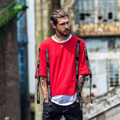 2017 mens tide brand Diablo high street letter ribbon stitching T-shirt loose two piece spell color street dance sleeve T-shirtApparel<br>2017 mens tide brand Diablo high street letter ribbon stitching T-shirt loose two piece spell color street dance sleeve T-shirt<br>