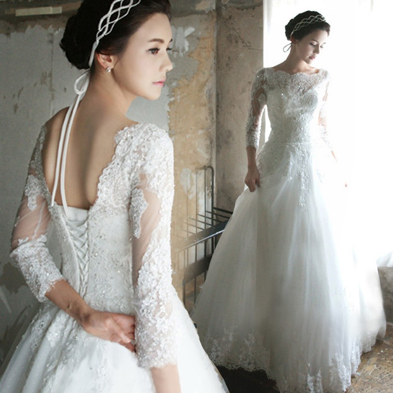 Free Shipping Elegant A Line Long Sleeve Lace Wedding Dresses Lace Up  Bridal Gowns