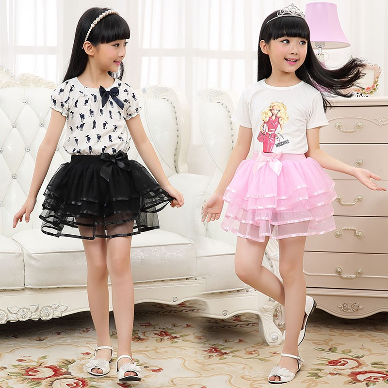 2015 Summer Style Baby Tutu Skirt Lace Rainbow Saias Fashion Infant Pettiskirt Girls Skirts Big Bow Kids 9010