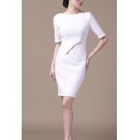 White Lace Elegant Exclusive OL Women Dress Bow Knot Pencil Dress SIL1004