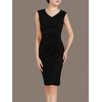Black V-neck Sleeveless Chic Elegant Exclusive OL Women Party Dress Pencil Dress SIL1011