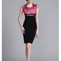 Rose red Floral 100% Silk Elegant Party Women Pencil Dress SIL1019