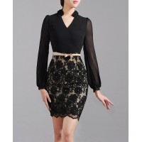 Black Lace Elegant Exclusive Chiffon dress Puff Sleeve SIL1003