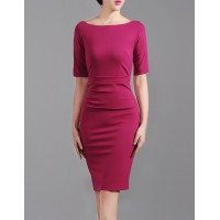Rose Red Summer Elegant Exclusive Club OL Fashion Women Party Dress Pencil Dress SIL1006