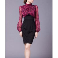Rose Red Mesh Elegant Party Leopard Women Pencil Dress SIL1017