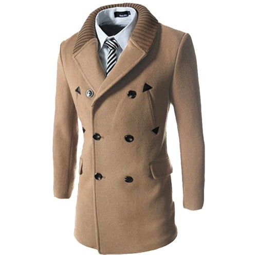Double Breasted Knitted Lapel PU Leather Spliced Men's Woolen Blend Coat