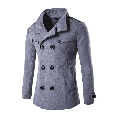 Double Breasted Wool Blend Men PeaCoat