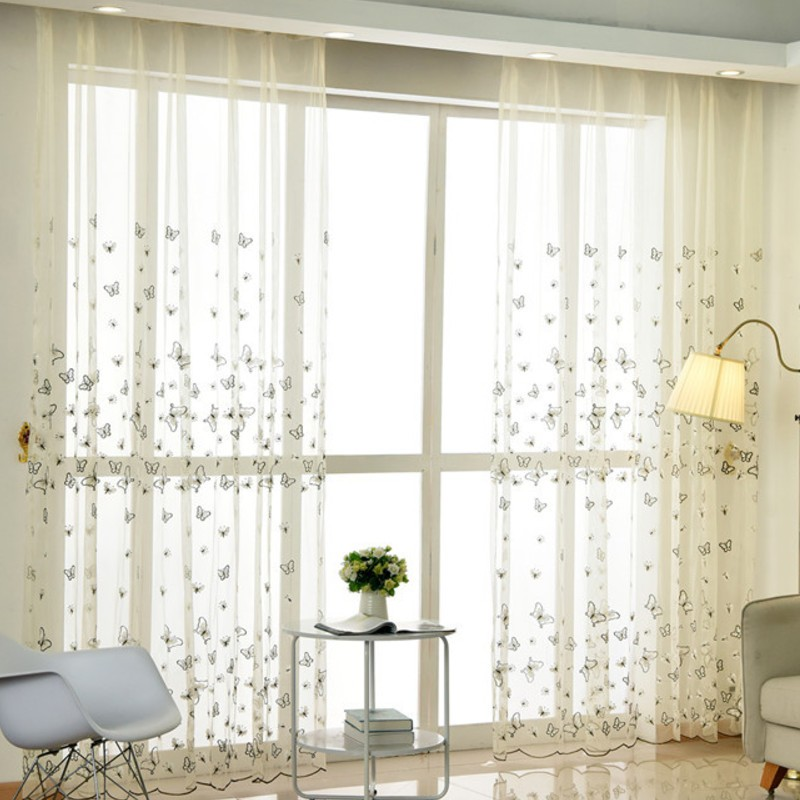 Good Cotton Linen Net Curtains Ready Made Embroidered Sheer