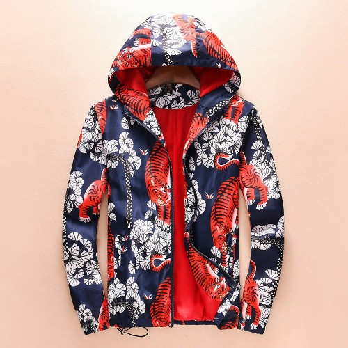 Autumn and winter new foreign trade casual jacket male hooded tiger printing jacket
