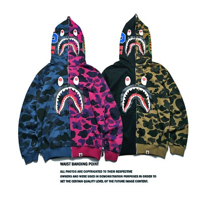 Autumn and winter tide brand shark head stitching camouflage zipper hooded sweater jacket