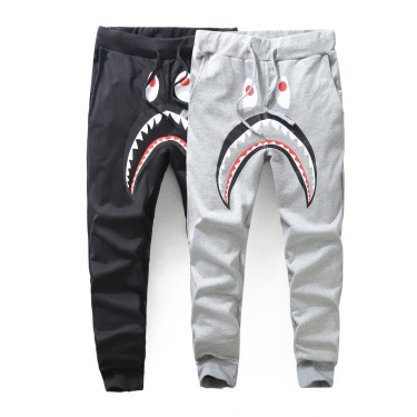 Spot new summer tide brand men's casual pants sharks printed thin section pants men and women feet trousers